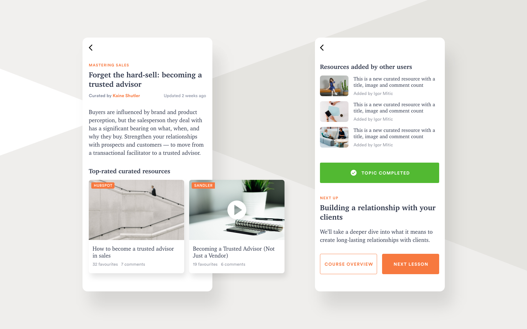 elarning platform for curated content